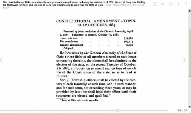 Ohio Term Limits For Township Officers Amendment 4 October 1885