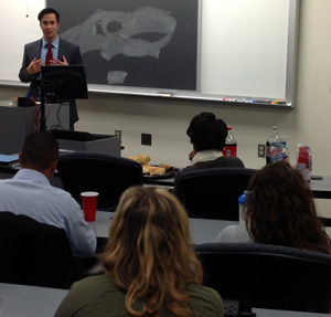 Andrew Samtoy talks with Cleveland-Marshall College of Law students.